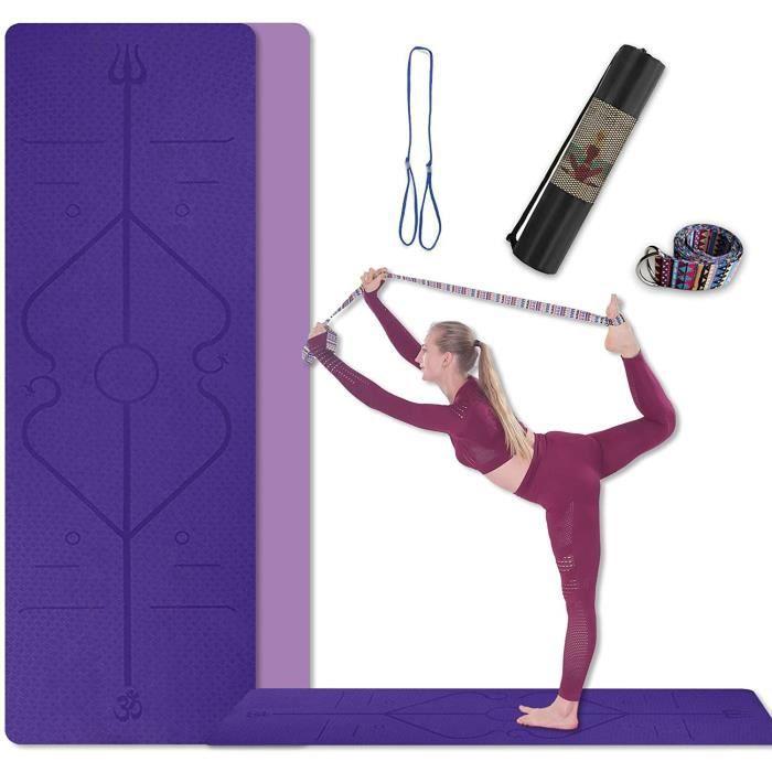 TAPIS DE SOL - TAPIS DE GYM - TAPIS DE YOGA Tapis de Yoga TPE avec Ligne d'alignement du Corps et Double Face Couleur, Antid&eacu573