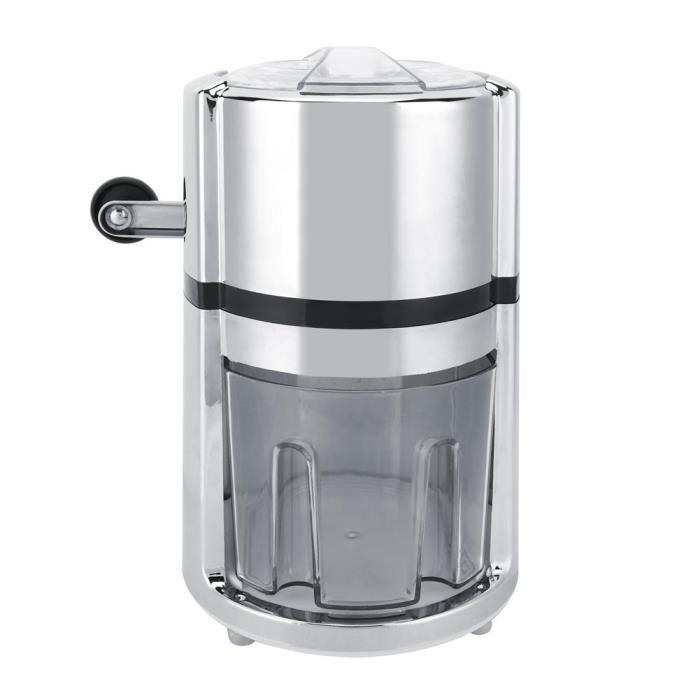 Broyeur à glace en acier inoxydable Manivelle Broyeur à glace manuel Rasé Machine à glace de forme ronde pour la maison
