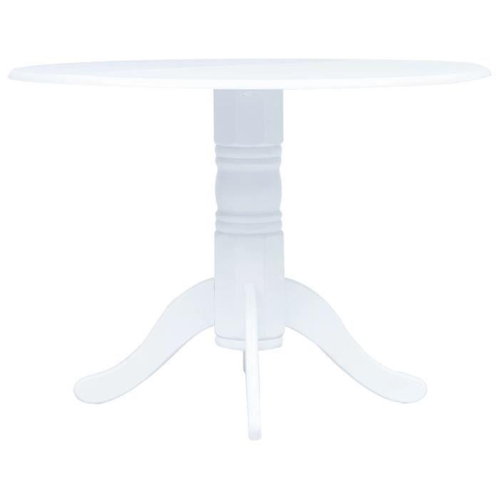 Style Vintage Rétro Table à manger - Table de salle à manger Blanc 106 cm Bois d'hévéa massif Table de cuisine - Moderne •328609