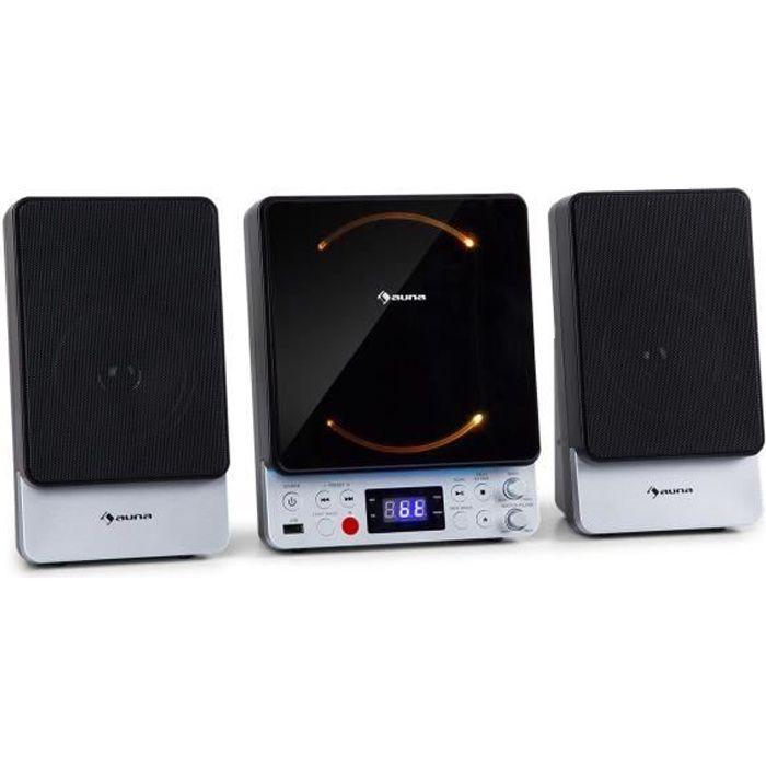 auna Microstar Sing - Micro chaîne avec système karaoké , lecteur CD , Bluetooth & USB , télécommande - Noir
