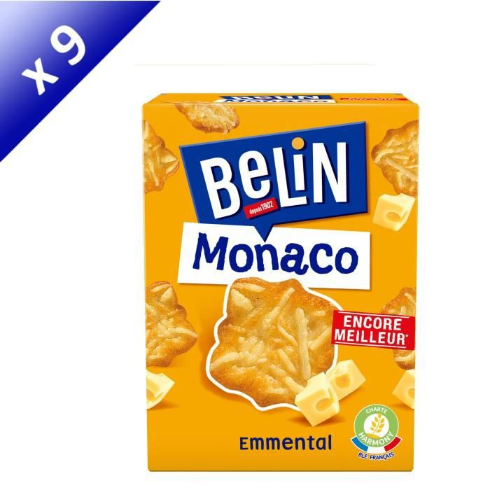 [LOT DE 9] BELIN Crackers Monaco Emmental 100g