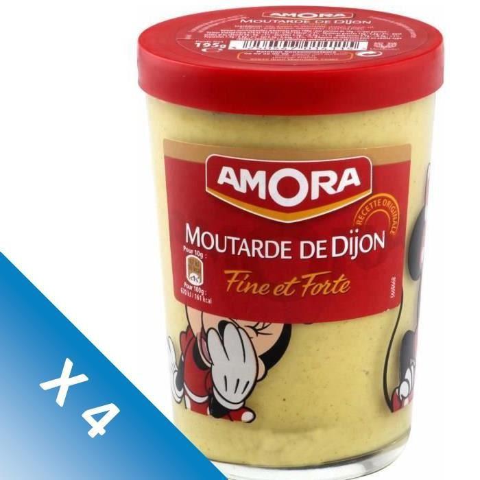 AMORA Moutarde Forte Verre Tv - 195 g - Lot de 4
