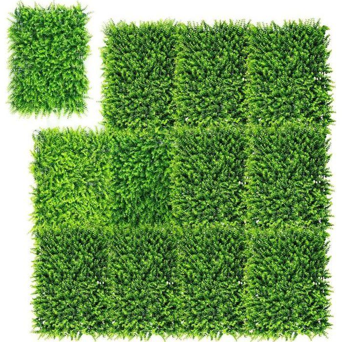 COSTWAY 12 Panneaux de Plantes Artificiels 40x60CM Protection UV pour Jardin Maison Clôture et Décorations de Mariage Vert