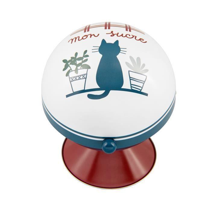 Boule à Sucres MA CUISINE AU NATUREL en métal bleu chat - Sucrier de Rangement Boîte Distributeur Cuisine - DLP Derrière La Porte
