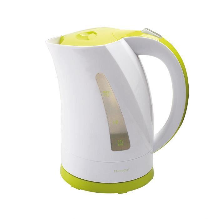 Bouilloire 2200W sans fil Blanc-Vert 1,7L avec réservoir d'eau visible - DOM298BV