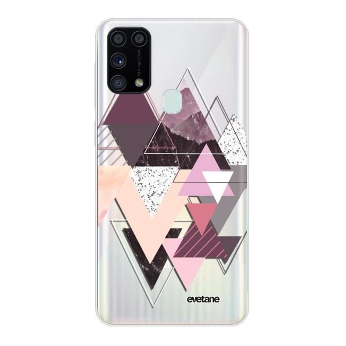 Coque Samsung Galaxy M31 360 intégrale transparente Triangles Design Ecriture Tendance Design Evetane.