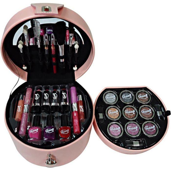 Coffret cadeau coffret maquillage mallette de maquillage collection Glam's Rose - 33pcs