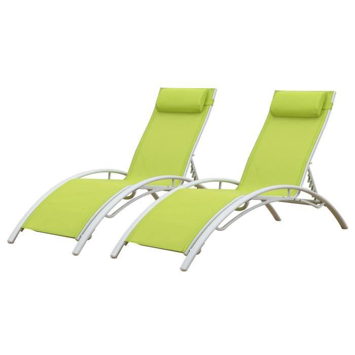 Lot de 2 transats GALAPAGOS en textilène vert - aluminium blanc