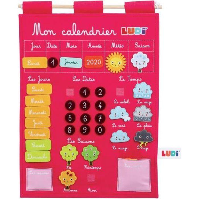 LUDI - Calendrier rose pour enfant dès 3 ans. Panneau en tissu brodé 53 x 38 cm et accroche murale - 45 étiquettes amovibles