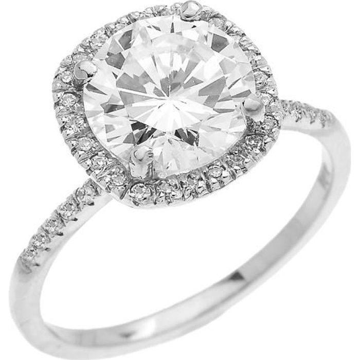 Bague Femme Diamant Coussin Forme Et Oxyde De Zirconium Centre Pierre Solitaire 10 Ct Or Blanc Micro Pave