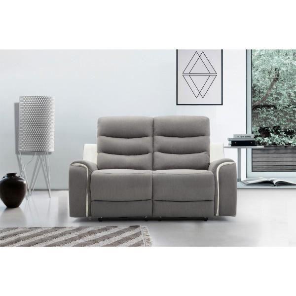 Canapé 2 places tissu gris et PU blanc Relax électrique 2 moteurs FARO Gris/Blanc