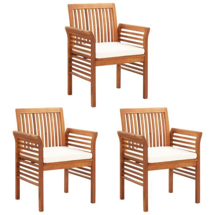 Lot de 3 Chaises à dîner de jardin et coussins - Fauteuil Jardin - Bois d'acacia massif