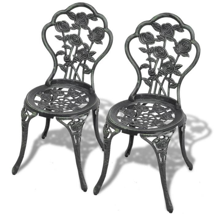 Chaises de bistro 2 pcs Aluminium coulé Vert