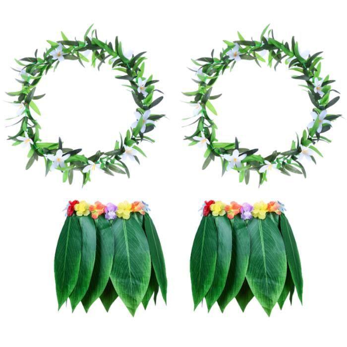 4 pièces adulte Tropical hawaïen vêtements de plage Hawaii Costume jupe d'herbe avec guirlande pour Luau Party Festival Traval