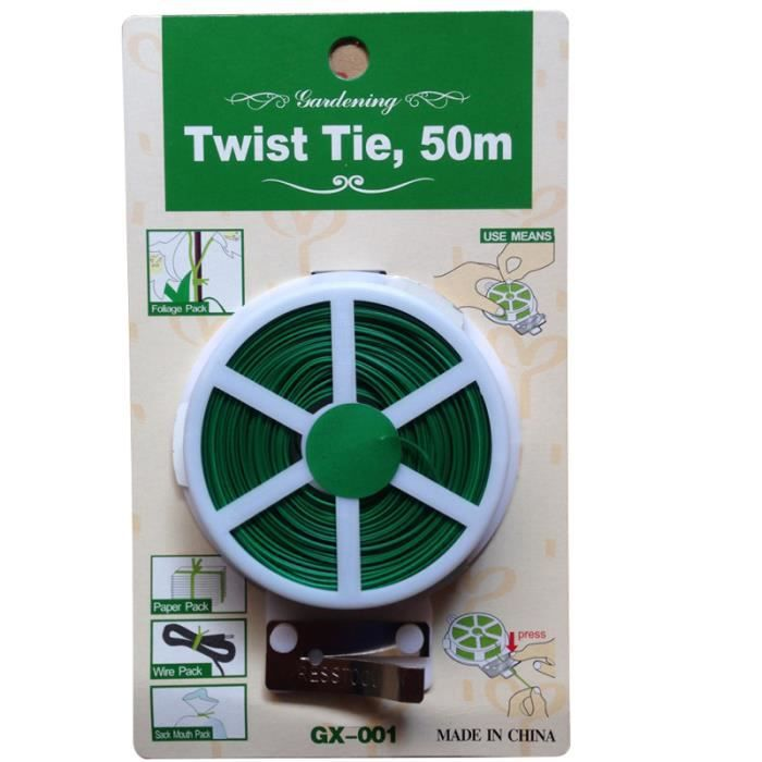 50m attaches de câble de fil de fer enduit de plastique outils de jardinage cravates d'artisanat rouleau pour paquet de feuillage