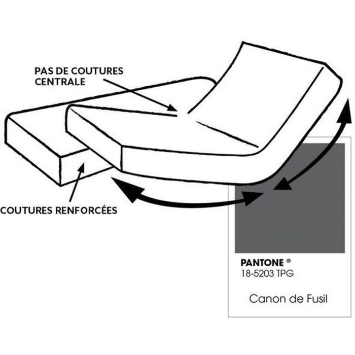Drap housse pour lit articulé - 100% coton - Bonnet 30 cm - 2x80 x 200 cm - Gris foncé