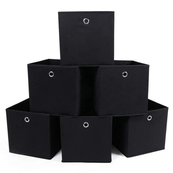 PC36916-Lot de 6 Boîtes-Tiroirs en Tissu Cube de Rangement Pliable Coffre pour Linge, Jouets, Vêtement 31 x 31x 31cm Noir