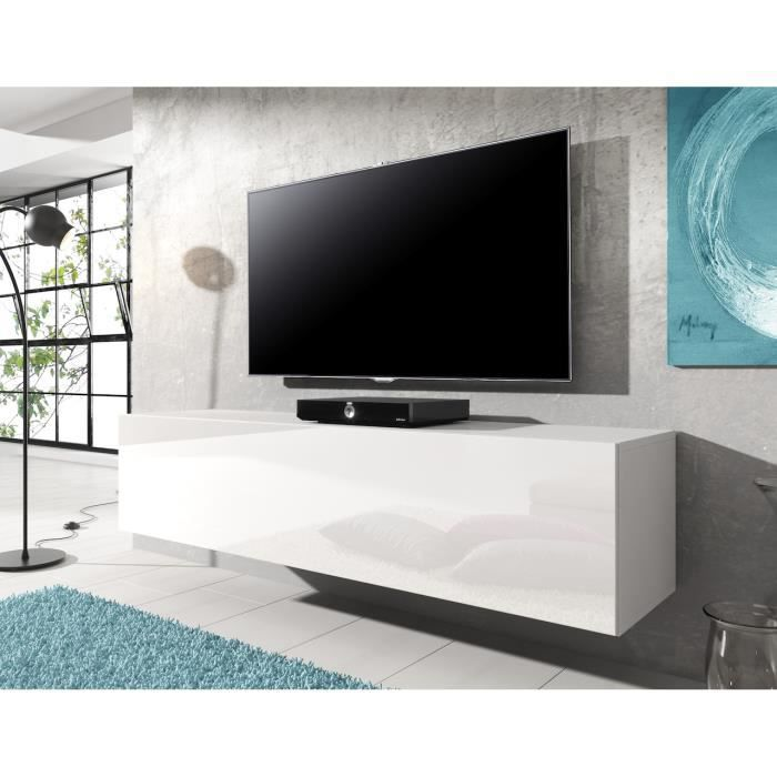 meuble tv flottant rocco blanc 140 cm achat vente meuble tv meuble tv flottant rocco bl. Black Bedroom Furniture Sets. Home Design Ideas