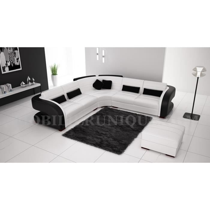 canap d 39 angle cuir blanc et noir design pas cher achat. Black Bedroom Furniture Sets. Home Design Ideas