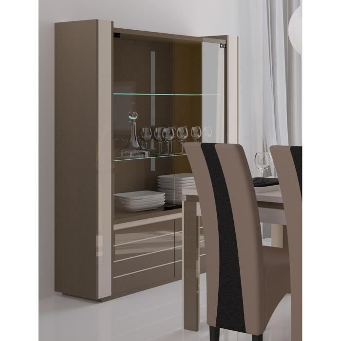 vitrine argentier vaisselier lina led cappuccino achat. Black Bedroom Furniture Sets. Home Design Ideas