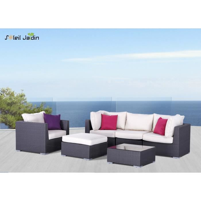 salon de jardin 5 places en r sine tress e gris salon de jardin comprenant. Black Bedroom Furniture Sets. Home Design Ideas