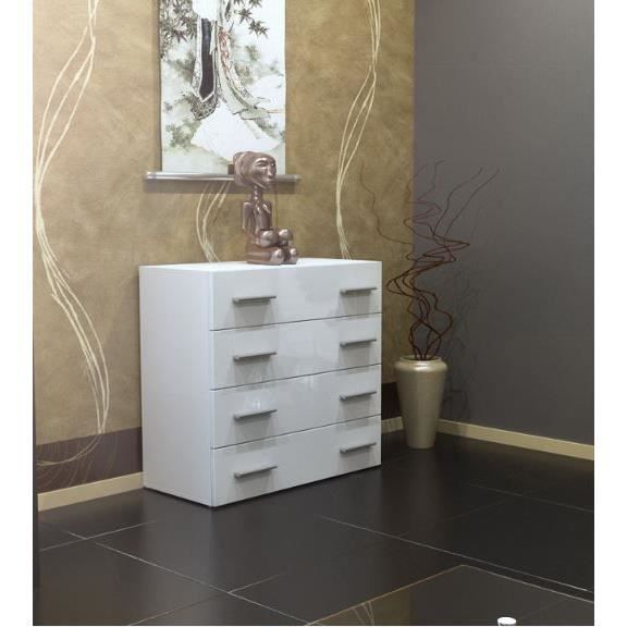 Commode 4 tiroirs blanc 72cm achat vente commode de chambre commode 4 tir - Commode 4 tiroirs blanc ...