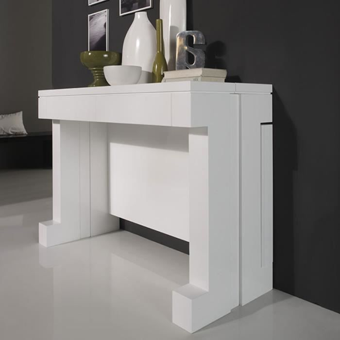 Console murale blanc laqu design transformable abby for Console murale design
