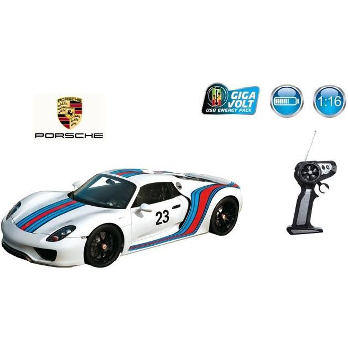 voiture porsche 918 version course radiocommand e batterie usb rechargeable 49cm x 19 4cm. Black Bedroom Furniture Sets. Home Design Ideas