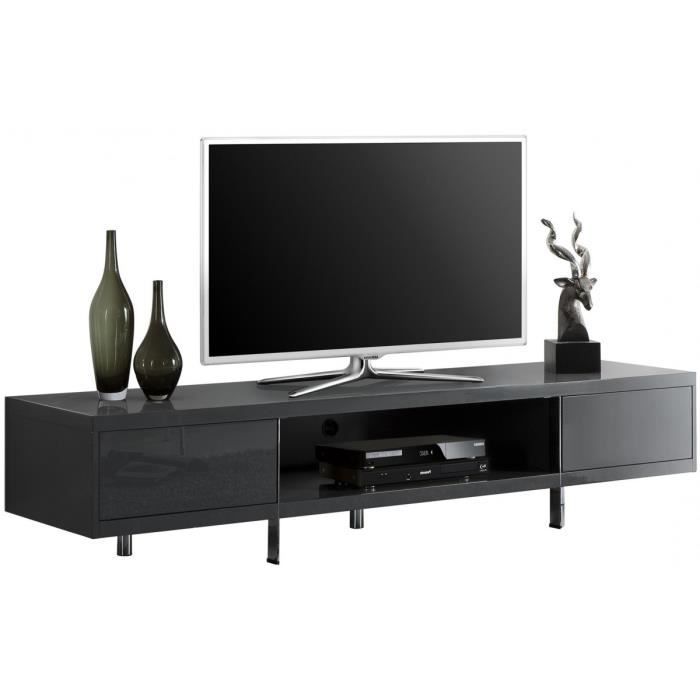 meuble tv design gris fonc laqu 2 tiroirs achat vente meuble tv meuble tv design gris. Black Bedroom Furniture Sets. Home Design Ideas