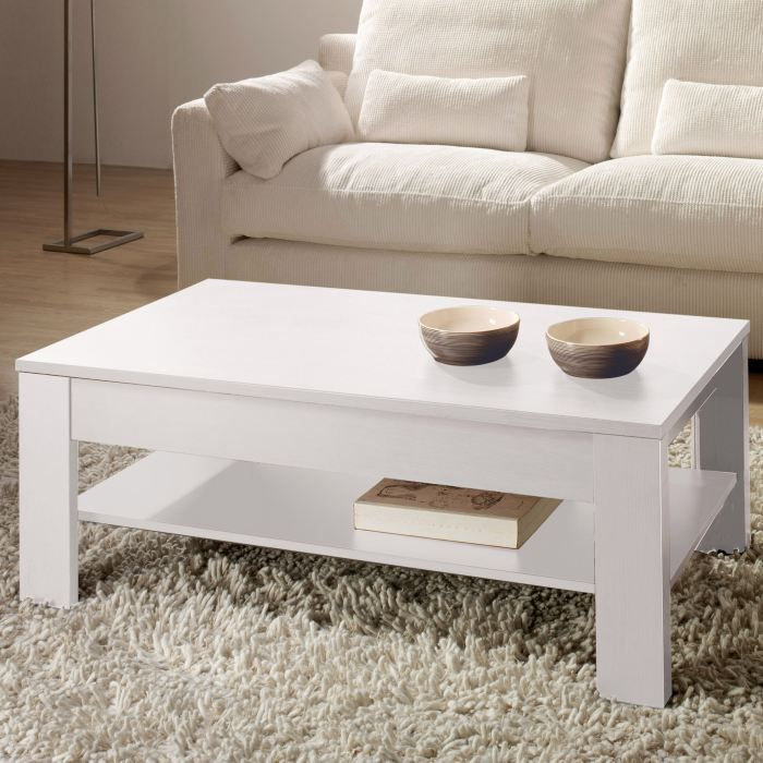 Table basse relevable rosilia coloris blanc achat vente table basse tab - Table salon cdiscount ...