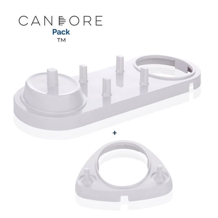 BROSSE A DENTS CANDORE® Pack - 2 Supports Blanc - Compatible pour