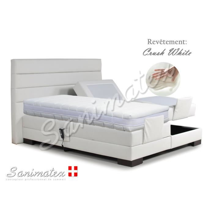 lit electrique boxspring 140x190 coronado niagara white achat vente lit complet lit. Black Bedroom Furniture Sets. Home Design Ideas