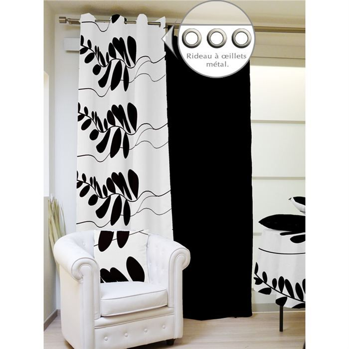 rideau a oeillets 140x240cm adela de blanc et noir achat. Black Bedroom Furniture Sets. Home Design Ideas