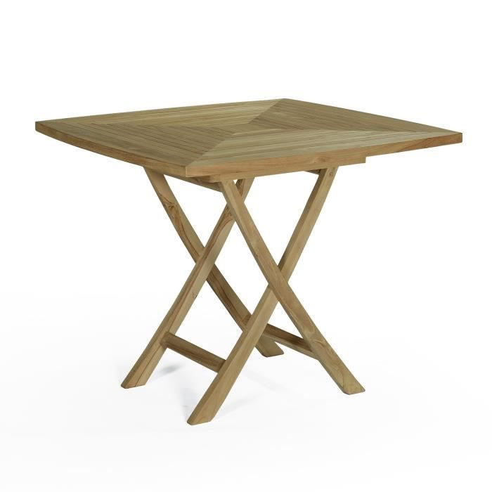 Table pliante carr e en teck ecograde cardif 90 x 90 cm - Table de bridge pliante ...