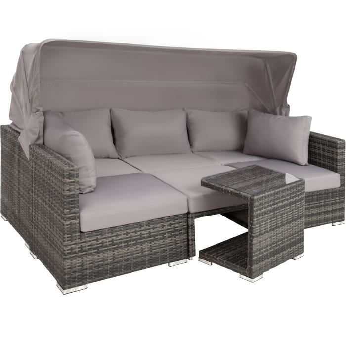 TECTAKE Salon de jardin SAN MARINO 6 Places - Modulable avec Auvent  rabattable - en Résine tressée et Aluminium Gris