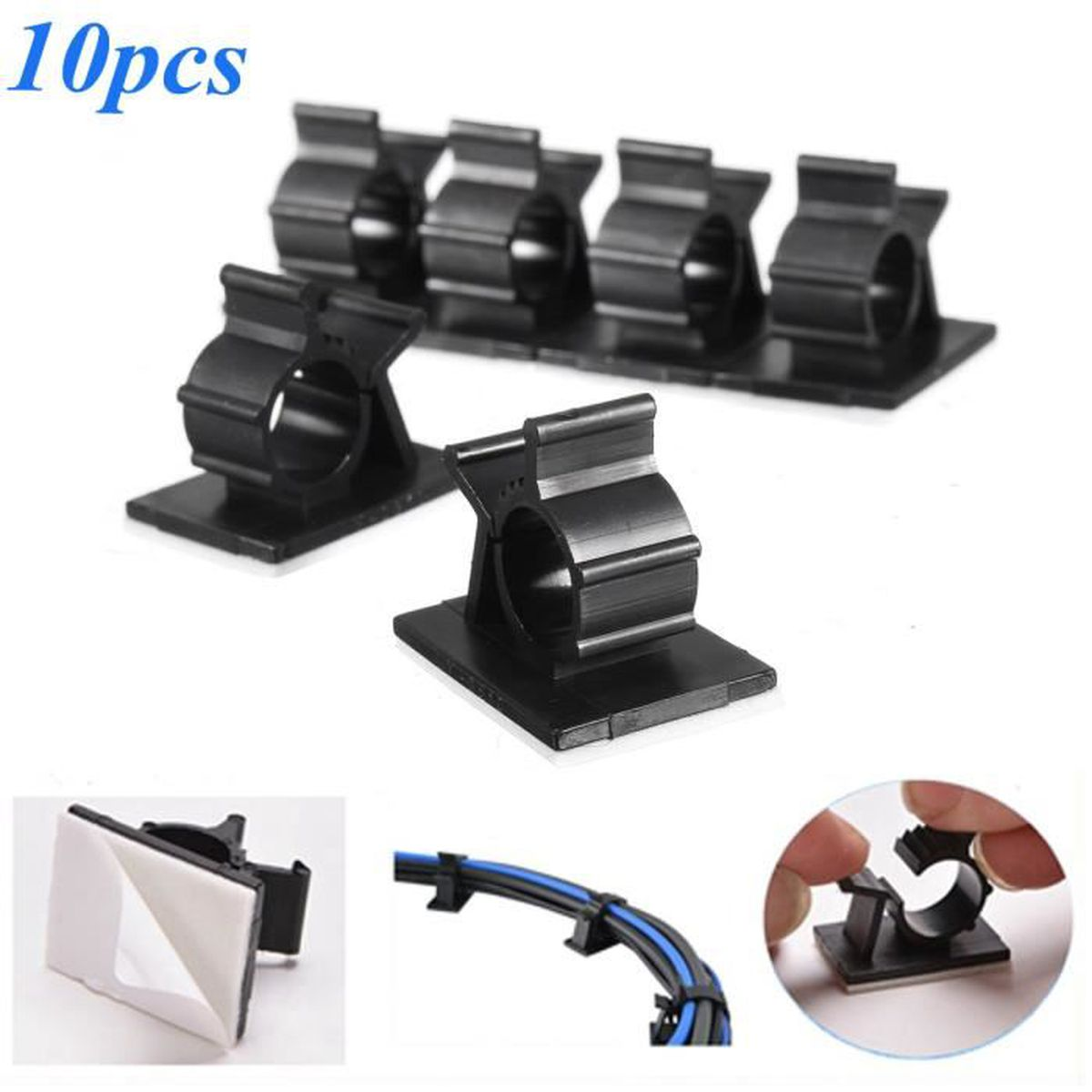 10x c ble attache self adh sif fixations clamp clip pr. Black Bedroom Furniture Sets. Home Design Ideas
