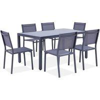 Ensemble repas de jardin - table 160 cm plateau verre + 6 chaises aluminium gris