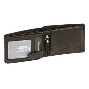 PORTE MONNAIE Porte-monnaie pour hommes, en cuir véritable, noir
