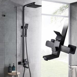 Ensemble de robinet de douche noir mat pour salle de bains