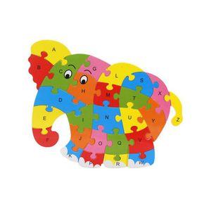 PUZZLE Puzzle de 26 lettres en bois avec animaux Ya-130