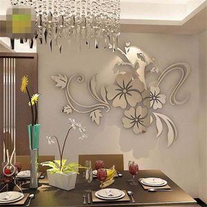 STICKERS 3D Miroir Art Floral amovible Wall Sticker mural a