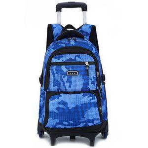 TROLLEY MATERIEL (BLUE)Enfants Trolley école sac à dos 6 roues mode
