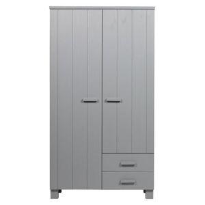 ARMOIRE DE CHAMBRE Armoire en pin massif brossé coloris gris béton -