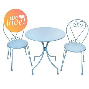 salon de jardin romantique bleu pastel 2 places achat. Black Bedroom Furniture Sets. Home Design Ideas