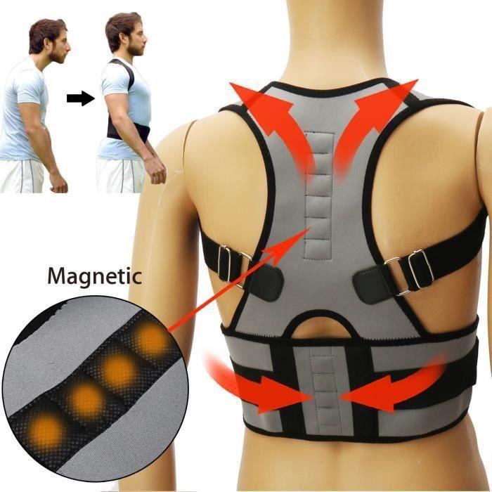 TEMPSA Ceinture Posture Correcteur Orthopédique Soutien Magnétique Dos Epaule Réglable XXL
