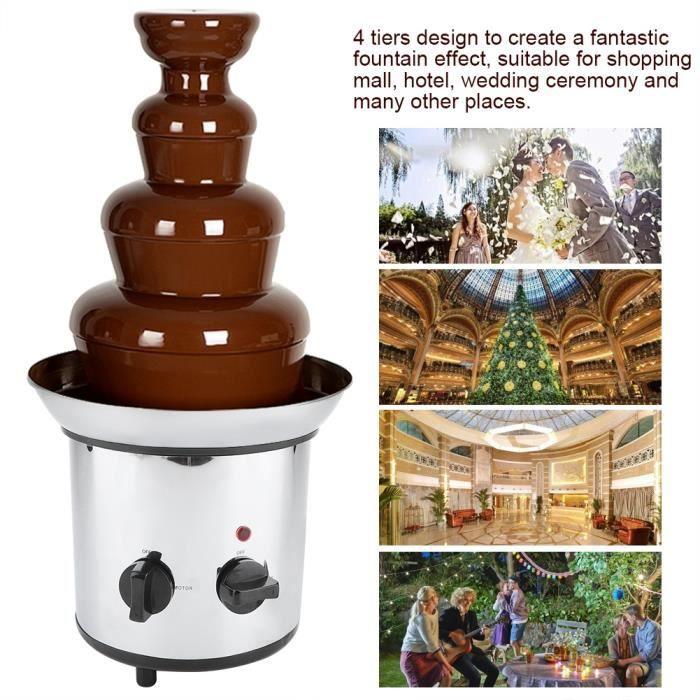 CHEZ COCO Fontaine à Chocolat électrique 4 niveaux en acier inoxydable