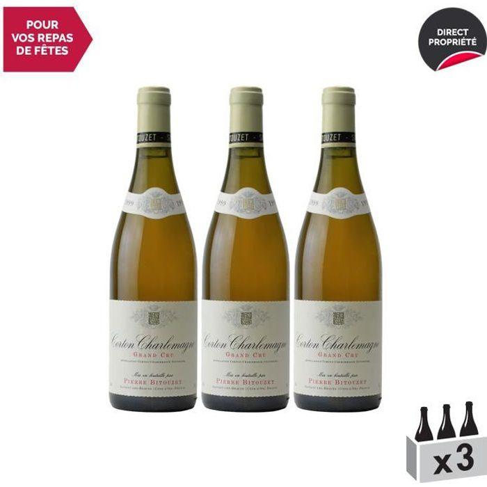 Corton-Charlemagne Blanc 1999 - Lot de 3x75cl - Pierre Bitouzet - Vin AOC Blanc de Bourgogne - Cépage Chardonnay