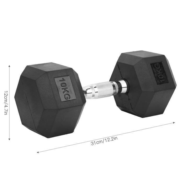 10kg Haltère hexagonale - Empêcher le défilement - revêtement en caoutchouc - Équipement de fitness à domicile HB010