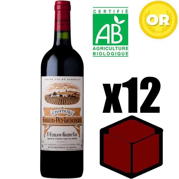 X12 Château Grand Pey Lescours 2015 75 cl AOC Saint-Emilion Grand Cru Rouge Vin Rouge