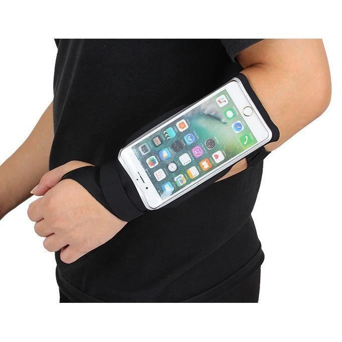 Brassard Sport Poignet pour WIKO Rainbow Jam Smartphone Course Running Manchette Tactile T4 (NOIR)
